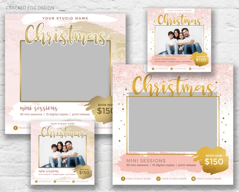 Christmas Mini Session Templates Sparkly Gold Glitter image 0