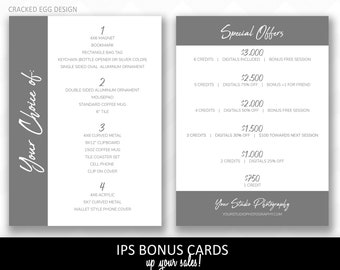 Want to make more money at your IPS appointments? These Bonus Cards help me sell more products. Customize for your studio, photography