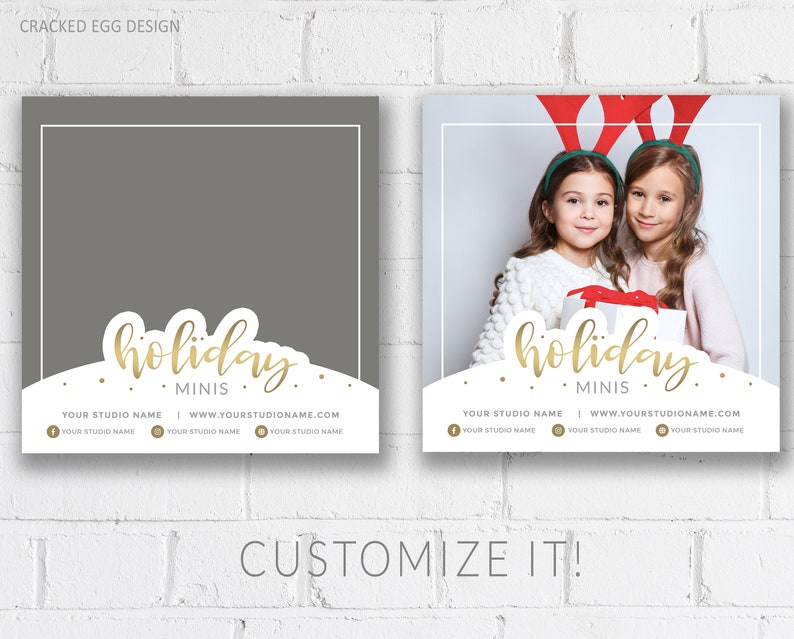 Holiday Mini Sessions Template Gold Lettering Customize in image 0