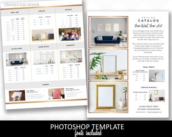 Two page product pricing guide template for photographers,  catalog, IPS, In Person Sales, Photography template, gold 8.5x11
