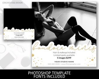 Boudoir price template for photographers, gold accents, Square Template, Pricing Guide, Sheet, Boudie, Pinup