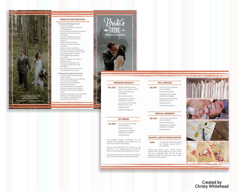 Wedding Planner Brochure, Pricing Trifold Brochure Template Packages  Pineapple Design