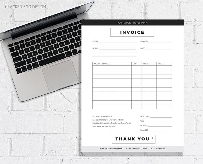 Super Clean and Modern Invoice Template for Photographer or image 0