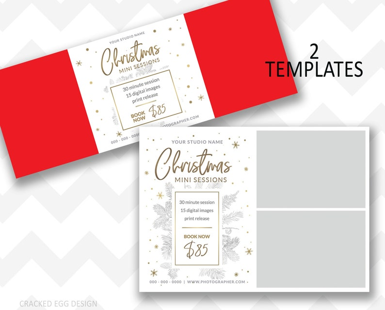Gold Sparkle Snowflake Christmas Mini Session Template for image 0