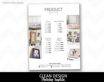 Simple and clean product pricing sheet template for Photoshop, photography price guide, brochure, marketing template, fonts