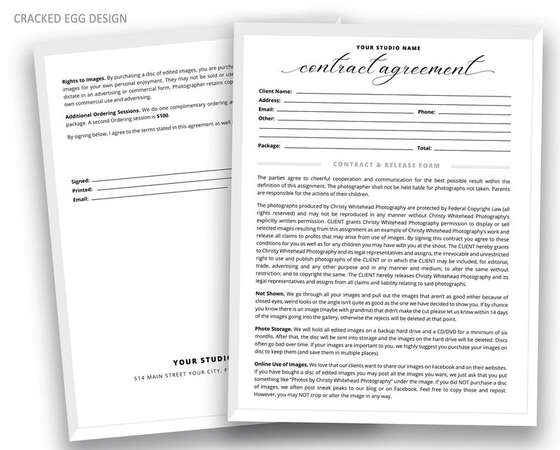 Portrait Session Contract Model Release Release Form image 0