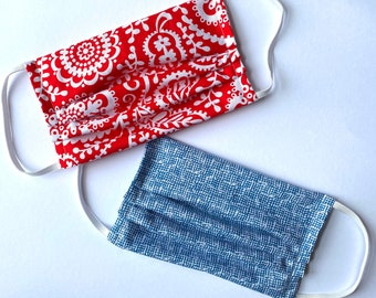 100% Cotton Washable Face Mask with Filter Pocket - Unisex Pattern