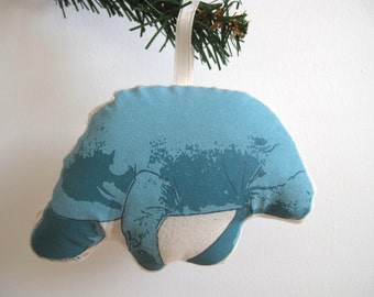 Silkscreen Manatee Ornament
