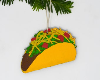 Wooden Silkscreen Taco Ornament