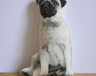 Silkscreen Pug Pillow