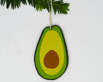 Wooden Silkscreen Avocado Ornament