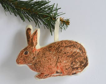 Silkscreen Bunny Ornament