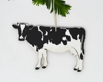 Wood Silkscreen Cow Ornament