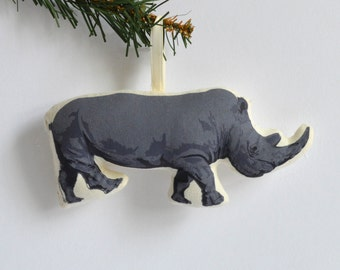Silkscreen Rhino Ornament