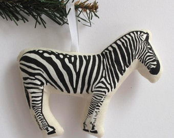 Silkscreen Zebra Ornament