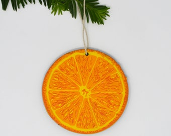 Wooden Silkscreen Orange Slice Ornament