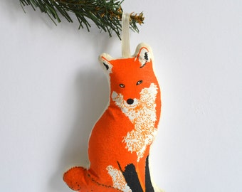 Silkscreen Fox Ornament