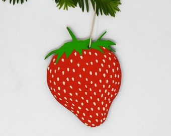 Wooden Silkscreen Strawberry Ornament
