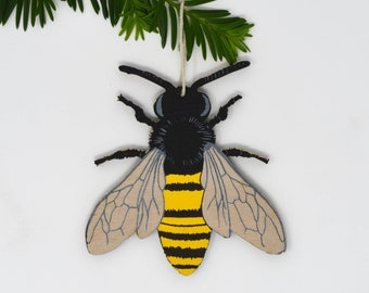 Wooden Silkscreen Bee Ornament