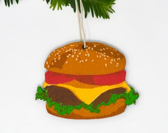 Wooden Silkscreen Hamburger Ornament