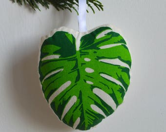 Silkscreen Monstera Leaf Ornament