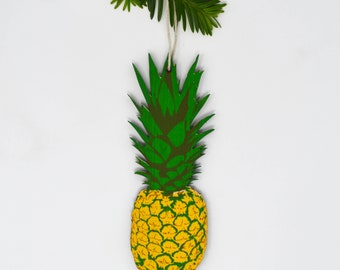 Wooden Silkscreen Pineapple Ornament