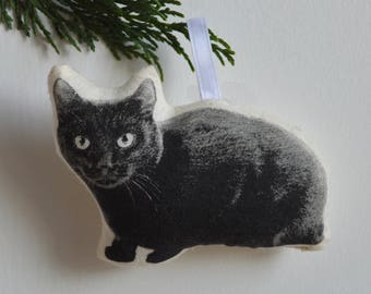 Silkscreen Black Cat Ornament