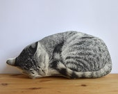 Silkscreen Sleeping Cat Pillow