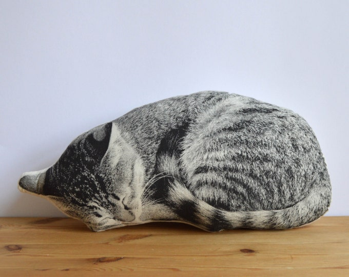 Featured listing image: Silkscreen Sleeping Cat Pillow