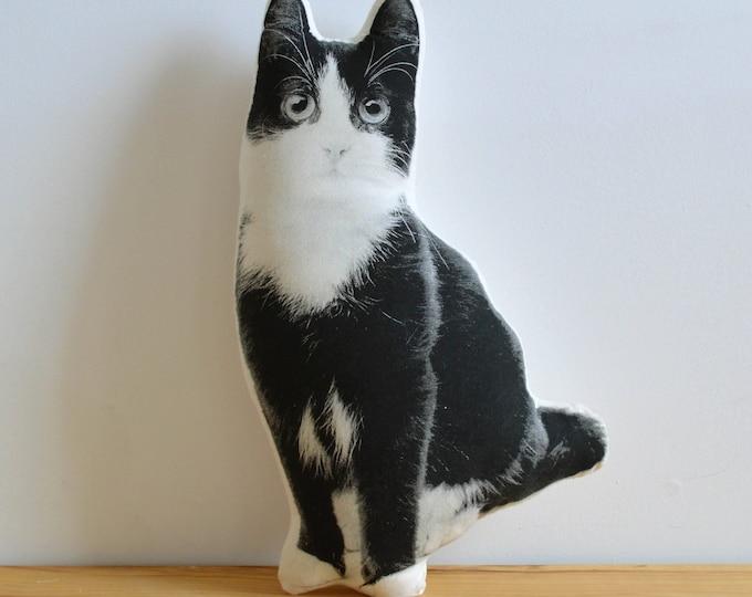 Silkscreen Black and White Kitten Pillow