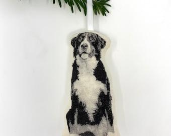 Silkscreen Bernese Mountain Dog Ornament