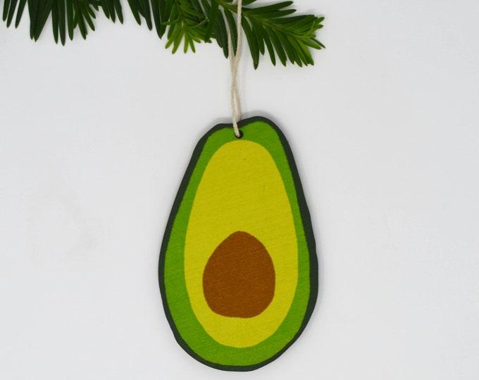 Wooden Silkscreen Avocado Ornament