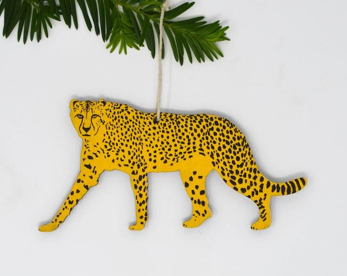 Wooden Silkscreen Cheetah Ornament