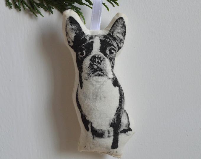 Silkscreen Boston Terrier Ornament