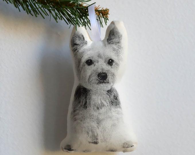 Silkscreen Yorkshire Terrier Ornament