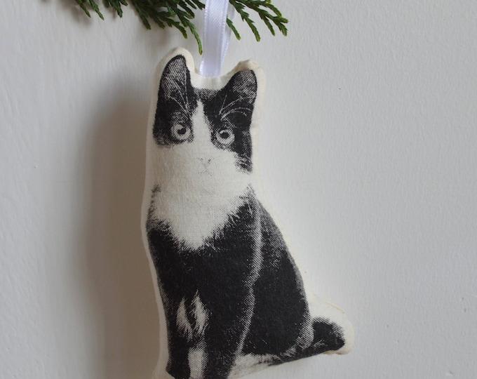 Silkscreen Black and White Kitten Ornament