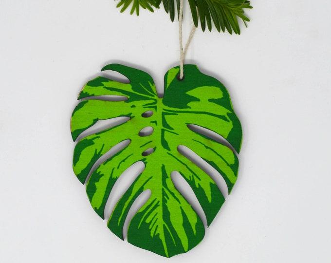 Wood Silkscreen Monstera Leaf Ornament
