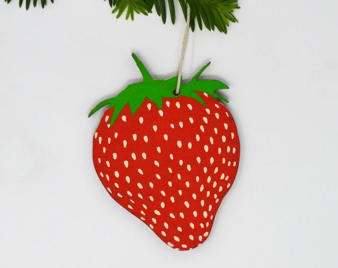 Wooden Silkscreen Strawberry Ornament