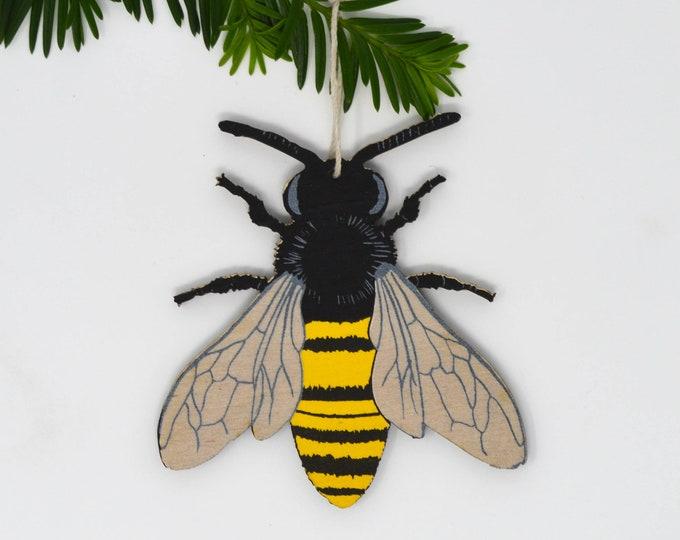 Wooden Silkscreen Bee Ornament