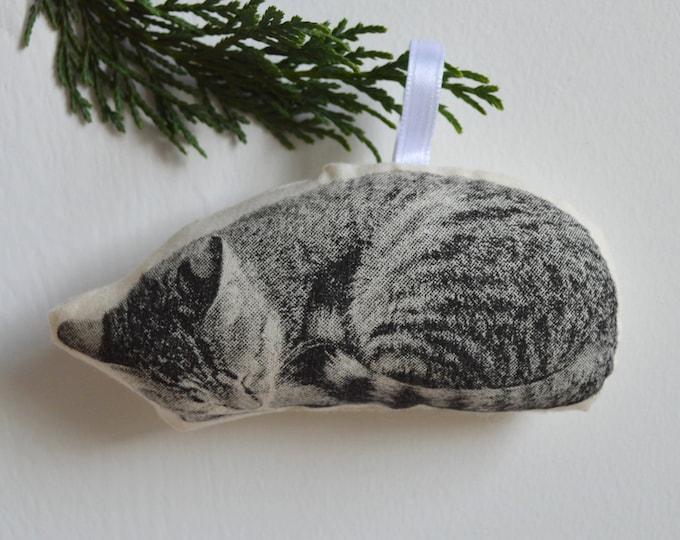 Silkscreen Sleeping Cat Ornament