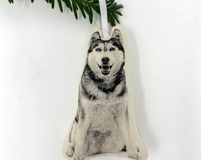 Silkscreen Siberian Husky Ornament