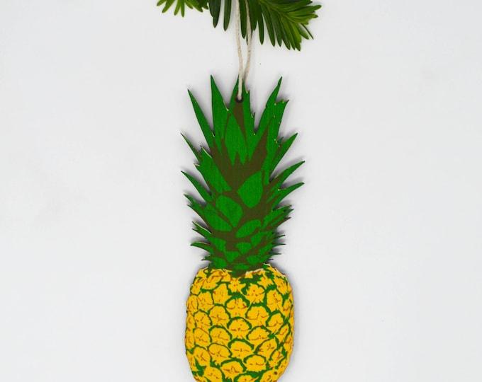 Wooden Silkscreen Pineapple Ornament