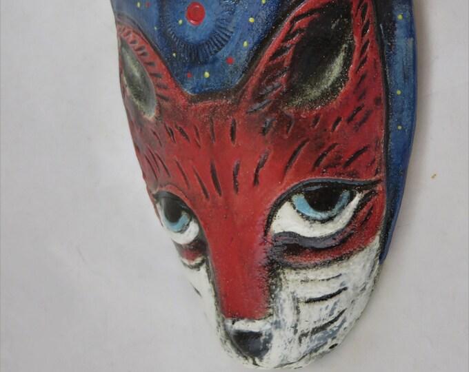 Sly Red Fox under the stars ceramic wall pocket planter hand made