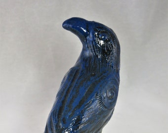 Ceramic baby crow glossy blue and black Artisan made sculpture