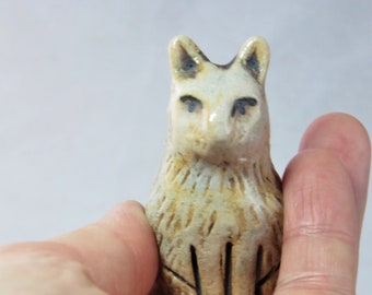 Tiny cinnamon kitty  hand made ceramic sculpture