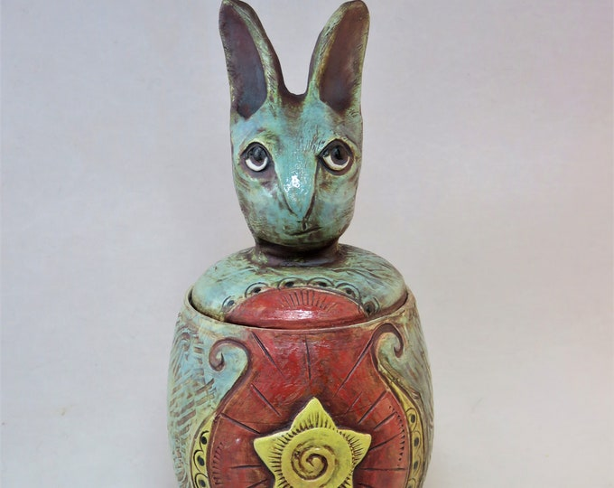 Smirky Americana Rabbit lidded vessel with star ceramic artisan made SHIPPING INCLUDED