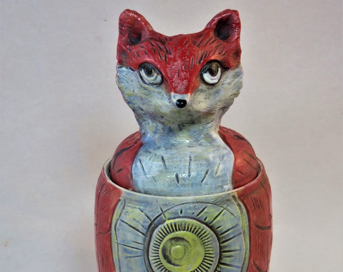 Sweet Red Fox with moon vessel with lid ceramic artisan made SHIPPING INCLUDED