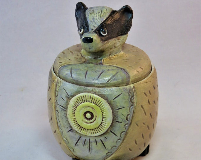 Fat Badger Yellow Moon  lidded vessel  ceramic artisan made SHIPPING INCLUDED