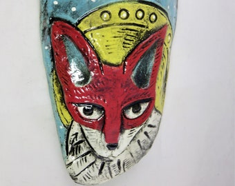 Red fox and full moon  ceramic wall pocket artisan hand made
