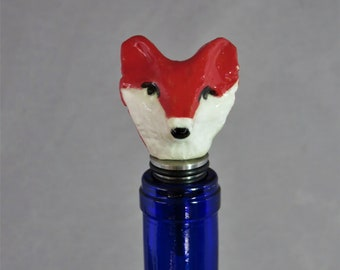 Ceramic Fox head  stainless steel bottle stopper  Artisan Made